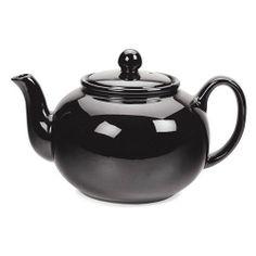 RSVP Black 6 cup Stoneware Chai Teapot