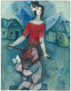 "Marc Chagall The Angel and the Reader, c. 1930 Gouache with encaustic and oil paint on cream wove paper 636 x 488 mm Signed recto, lower left, in blue and brown gouache: ""Chagall / Marc"" Olivia Shaler Swan Memorial Collection, The Art Institute of Chicago Marc Chagall, Artist Chagall, Chagall Paintings, Folklore Russe, Atelier D Art, Modigliani, Jewish Art, Art Institute Of Chicago, Art Graphique"