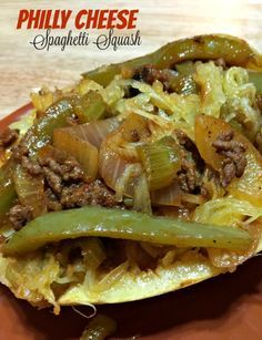 Philly Cheesesteak Stuffed Spaghetti Squash | Recipes And Ramblings With The Tumbleweed Contessa Stuffed Spaghetti Squash, Spagetti Squash Casserole, Recipes With Spaghetti Squash, Chicken Spaghetti, Stuffed Squash Recipes, Spagettie Squash Recipes, Squash Tips, Diabetic Recipes, Beef Recipes