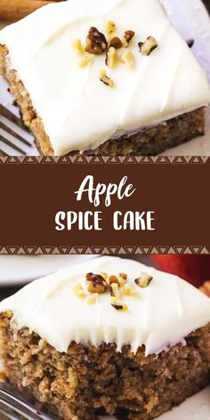 Apple Spice Cake with Cream Cheese Frosting meat recipe with cream cheese Apple Spice Cake with Cream Cheese Frosting Apple Cake Recipes, Best Dessert Recipes, No Bake Desserts, Delicious Desserts, Easy Recipes, Healthy Desserts, Dessert Ideas, Cake Ideas, Baking Recipes