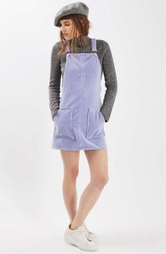 12 overall dresses you need for festival season, spring, summer and beyond, like this lilac pinafore overall dress.