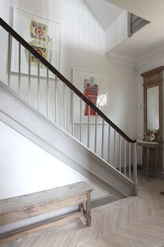 Extensive range of parquet flooring in Edinburgh, Glasgow, London. Parquet flooring delivery within the mainland UK and Worldwide. Staircase Molding, Stairs Trim, Staircase Design, Stained Staircase, Staircase Railings, Staircase Ideas, Hallway Ideas, Hallway Inspiration, Painted Stairs