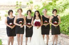 Black bridesmaids dresses - all different but look very similar!