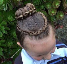 Braided bun with halo braid