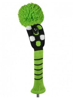 Just For Golf Knit Headcovers-Lime/black Dot Fairway Wood Headcover