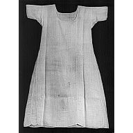Shift or woman's undergarment made of coarse natural linen in tabby weave. Shift has short sleeves with gussets under arms and scooped neck line. The neck, sleeves, and hem are finished with narrow rolled hems. Linen sewing thread.