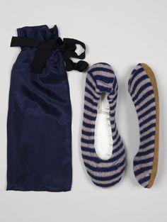 Navy/white cashmere Stripe Slipper