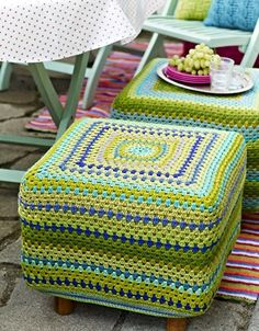 I am loving the way crochet is taking off - from fashion to haute couture (ok, maybe I'm exaggerating a little!) to styling the home = finally crochet will stop being considered the ugly step-sister to knitting! Crochet Pouf, Crochet Cushions, Love Crochet, Crochet Granny, Beautiful Crochet, Crochet Home Decor, Crochet Crafts, Yarn Crafts, Crochet Projects