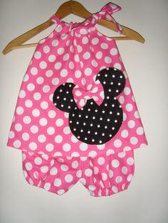 Minnie Mouse pink  polka dot Swing dress&matching by minnieschild, $26.99