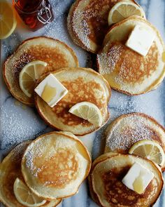 Vegetarian · fluffy, lemon ricotta pancakes with homemade blueberry syrup serves: 6 Lemon Ricotta Pancakes, Crepes, Brunch Recipes, Dessert Recipes, Pancake Recipes, Bean Recipes, Potato Recipes, Food 52, Chef Food