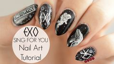 I promised a few of you another exo design before the end of the year so here you go! This one is inspired by exo's new Christmas song Sing For You. K Pop Nails, Edgy Nails, Love Nails, Hair And Nails, Exo Sing For You, Christmas Nail Polish, Korean Eye Makeup, Finger Painting, Cute Nail Designs
