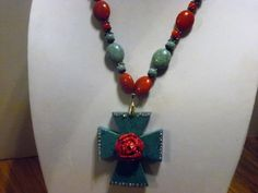 Southwestern Red Turquoise Cross Red Rose AB by gypsycowgirlchic