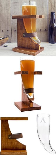 Raise this 16 ounce glass drinking horn personalized with large single initial and cheer to good times. A truly unique gift for the man who enjoys drinking beer, good times and being the center of attention, this Viking beer horn glass and wood stand is a functional novelty to set in the home bar or man cave for fun conversation and memorable times. This set can be ordered at http://myweddingreceptionideas.com/personalized-viking-horn-beer-glass-stand-gift-set.asp