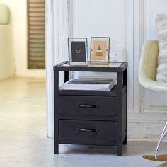 Industriel Metal Bedside Table with 2 Drawers