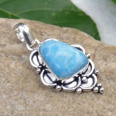 Ganuine Larimar Pendant - Fancy Larimar Gemstone Pendant - Handmade Silver Jewelry - Sky Blue Gemstone Pendant - Cabochon Larimar - AJP-0113 by JewelryArtisans on Etsy https://www.etsy.com/listing/232206666/ganuine-larimar-pendant-fancy-larimar