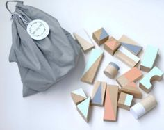 Wooden blocks in Pastel colours packed in cotton bag - Wooden toys - Gift for toddler - Baby gift - Building blocks - Baby gift : Large wooden blocks: Pastel in cotton bag- Montessori toys - Toddler gift - Wooden toys - Building blocks - Eco toys Toddler Gifts, Toddler Toys, Baby Gifts, Wooden Baby Toys, Wood Toys, Baby Blocks, Kids Wood, Montessori Toys, Wooden Blocks
