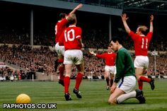 FA Cup Final  1963 Manchester United v Leicester City, David Herd, Pat Crerand, Denis Law and Bobby Charlton celebrate.