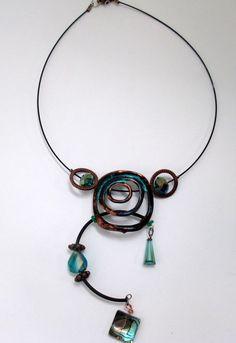 Calinda, princess necklace, pendant style, copper, verdigris, contemporary…