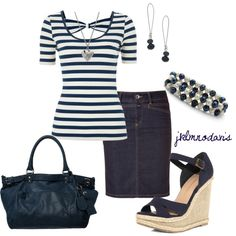 """love the top - reminds me of Erin's top -""""Navy & Cream"""" by jklmnodavis on Polyvore"""