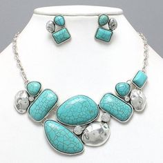 Silver & Turquoise Necklace Earring Set Western Cowgirl Bib Chunky Southwestern