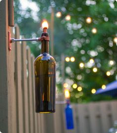 weinflasche als eine straßen lampe vewenden - Lampe selber machen – 30 einmalige Ideen