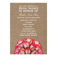 Discount DealsBurlap Inspired Pink Roses Bridal Shower Inviteyou will get best price offer lowest prices or diccount coupone