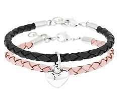 Stainless Steel Set of 2 Leather Bracelets with Heart Charm