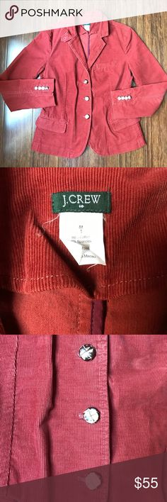 J. Crew Corduroy Blazer J. Crew Corduroy Blazer. Rust color more representative in close up pic of label. Some wear on buttons as pictured. 3 front pockets. 25 inches long. Back vent. J. Crew Jackets & Coats Blazers