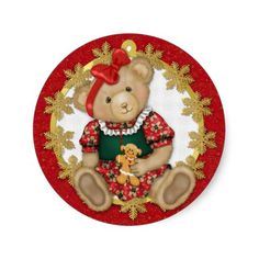 Shop Christmas Teddy Bear - Girl Classic Round Sticker created by Spice. Personalize it with photos & text or purchase as is! Christmas Gift Themes, Christmas Holidays, Xmas, Christmas Ornaments, Holiday Decor, Merry Christmas, Gingerbread Ornaments, Christmas Stickers, Holiday Fun