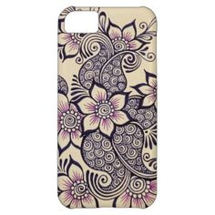 Pretty floral henna design on a phone case