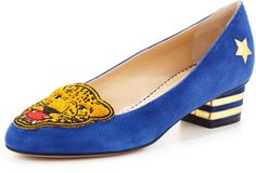 Charlotte Olympia Mascot Wild Cat Suede Loafer Varsity Blue - Lyst