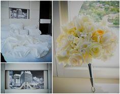 Eden Roc Destination wedding photography – Miami Beach, Florida.  Wedding dress, wedding shoes, yellow bridal bouquet.