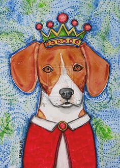 King Beagle Hound Dog Painting by PetArtMelindaDalke.deviantart.com on @deviantART