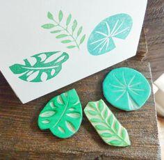Leaf trio - hand carved stamp set