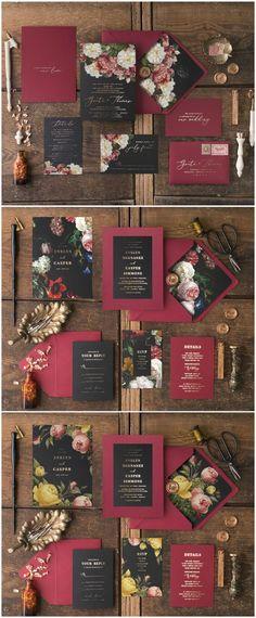 Beautiful vintage flowers wedding invitations with gold foil printing. Marsala, Black and Gold color scheme for elegant wedding theme #wedding #weddinginvitation