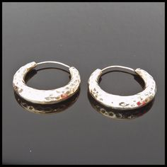 "Exquisite Solid Sterling Silver 925 ""Hammered"" Hoop Earrings FREE SHIPPING"