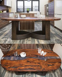 Oval dining table made of solid wood Karpinus and epoxy resin. Legs - solid oak. Very nice table for the home. Size: length 200, width 100, height 75 cm #epoxytable #epoxytable #ovaltabledining