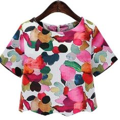 Bold & Beautiful Blouse NWOT! Fun scallop hem. Gorgeous colors. Slight crop. Tops Crop Tops