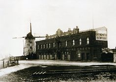 The Oxford Hotel, Oxford Square marton, Blackpool, with Great Marton Windmill in the late 1890s. Damstid Cottages can be seen vaguely on the far left distance / historical published EG 29/04/1989