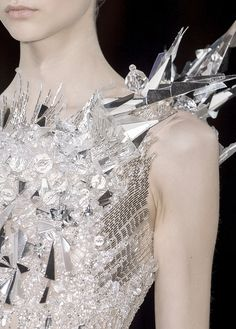 Ice Princess - silver and clear Sparkling sequin, beaded and crystal jewel encrusted dress (runway couture gown)