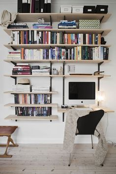 So make sure you design your home office exactly how you want from the perfect colors. See more ideas about Desk, Home office decor and Home Office Ideas. Home Office Setup, Guest Room Office, Home Office Design, Office Ideas, Home Libraries, Design Your Home, New Room, Bookshelves, Living Spaces