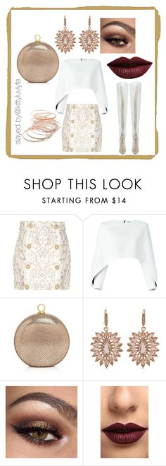 """""""Clearly Beautiful"""" by kittyluvlyfe ❤ liked on Polyvore featuring Balmain, Halston Heritage, Carolee, LASplash and Red Camel"""
