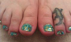 Big blue circles, gold mylar and glitter gel/polish