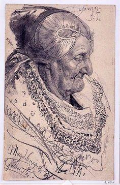 study of an old woman ~ Adolf von Menzel
