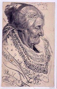 study of an old woman ~ Adolf von Menzel