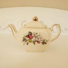 Vintage Mini Sadler Cube Cherry Blossom Teapot 1940s 2 Cup