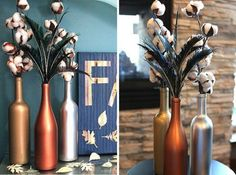 10 Ways to Upcycle Your Empty Wine Bottles for the Holidays via Brit + Co Empty Wine Bottles, Metal Vase, Wine Bottle Crafts, Festival Decorations, Home Hacks, Merry And Bright, Upcycle, Craft Projects, Crafty