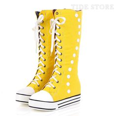Shop Fascinating Yellow Canvas Round Toe Lace-up Flat Heel Mid-calf Flats on sale at Tidestore with trendy design and good price. Come and find more fashion Sneakers here. Yellow Sneakers, High Top Sneakers, Shoes Sneakers, Cheap Sneakers Online, Comfortable Sneakers, Crazy Shoes, Cheap Fashion, Knee High Boots, Sneakers Fashion