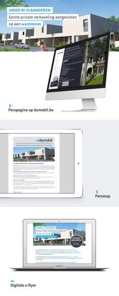 Perscommunicatie project Licht en Ruimte van Dumobil. Deze omvat een e-flyer, persmap en een online webpagina.