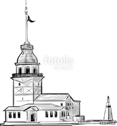 Maiden's Tower of Istanbul – 81 İl Türkiye Istanbul, Pebble Painting, Ink Painting, Street Painting, Oil Painting Pictures, Art Pictures, Music Tattoo Designs, Lighthouse Art, Building Sketch